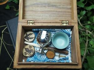 Witches Travel Altar Set in Vintage Box - Wand, Athame, Chalice, Pentagram