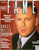 RARE August 1989 Issue Of Fame OOP Defunct Magazine Bruce Willis Cover 1ST