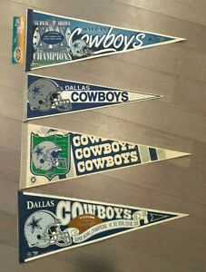 Lot of 4 Vtg Wincraft Dallas Cowboys Football / Superbowl Pennants