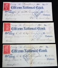 3 CITIZENS NATIONAL BANK CORRY PENNSYLVANIA DEPOST CHECKS 1900 VINTAGE BANKING