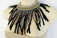 Women Long Black Fringes Bohemian Necklace Silver Metal Chain Gold Beads African