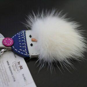 NWT COACH Leather Keychain 93024 Snowman White Mink Fur Keyring Key Fob NEW
