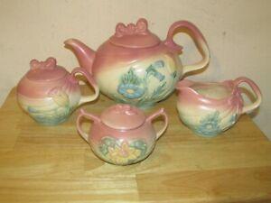 4pc of 1950's Hull Art Pottery Pink Bowknot Bowtie Tea Set - NICE!
