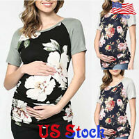 Summer Pregnant Women Floral Print Patchwork Maternity Tops Short Sleeve T-Shirt