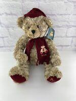 "NWT Vintage 1999 HARRODS Teddy Bear. Christmas bear. Red scarf and Hat 15"""