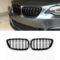 BMW F22 F23 gloss black front kidney grilles grille grills twin double spoke