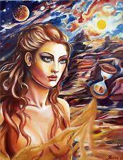 ORIGINAL Handmade Modern Fine art Face Signed Fantasy Girl Oil/Canvas by Yelena