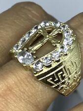 14k SOLID REAL GOLD MEN ring Yellow manmade diamond 7.9g Size 9 7 8 10 11