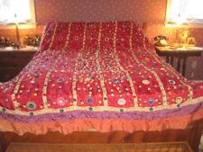Antique Victorian pieced silk bedspread, reversible ornate