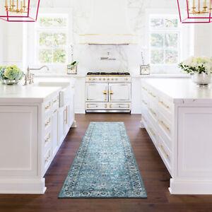 Hall Runner Rug Aqua Blue Ivory Soft Allover Beautiful Persian Carpet 80x300cm