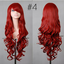 Hot 80cm Long Curly Wigs Fashion Cosplay Costume Hair Anime Full Wavy Part Uxym