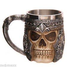 GRUESOME HORROR FANTASY WARRIOR SKULL SKELETON ARMOUR TANKARD GOTHIC MUG SK163