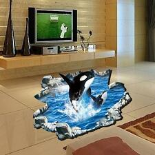 1x 3D Creative Whale Jump Wall Sticker For Drawing Room Decals Floor Stickers UP
