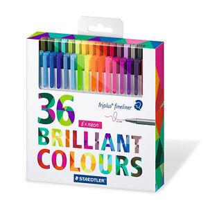 Staedtler Color Pen Set, Set of 36 Assorted Colors -Triplus Fineliner Pens