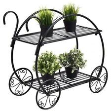 Wrought Iron Paint With Handle Cart Shape 2 Layer Plant Stand Fence Rack