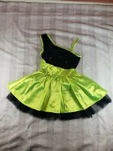 Girls Balera Green Black Sequins Dance Twirling Costume Dress Medium Child