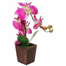 Decorative Synthetic Purple Silk Artificial Orchid Flower w Plant Stand