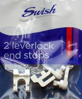 Swish Leverlock End Stops For Sologlyde & Aluglyde Curtain Track Rails, Pack 2