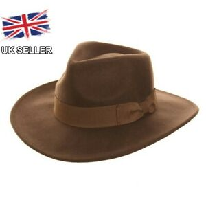 BROWN WOOL FEDORA COWBOY FELT WIDE BRIM RIBBON BAND INDIANA JONES UK SELLER