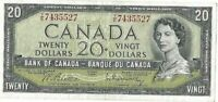 Bank of Canada 1954 20 Twenty Y/E Prefix Beattie Rasminsky Twenty Dollar