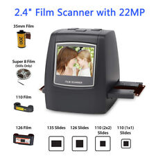 Film Scanner 22MP Converts 126KPK/135/110/Super 8 Films Slides & Negatives Kit