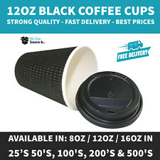 More details for 8oz 12oz 16oz (black) insulated disposable paper coffee cups ripple paper cups