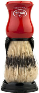 Red Large Shaving Brush With Stand Pig Bristles 24mm/55mm Omega Italy