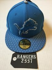 New Era NFL 17 Detroit Lions 59FIFTY  Side Line Fitted Hat Cap Size 7 5/8