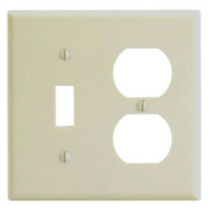 2-PK Leviton IVORY Double Gang Toggle Switch & Receptacle Wall Plate 86005 NEW