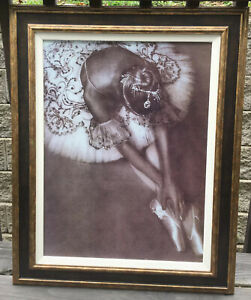Framed Print of Ballet Dancer En Pointe Ballerina Performance Tutu Wall Decor