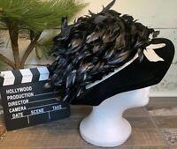 Vintage Harry Margu Creations Black Velvet Feathers White Ribbon Party Hat