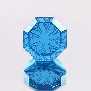 Unique Back Side Carving Cut Natural Blue Tourmaline Octagon Loose Gemstone