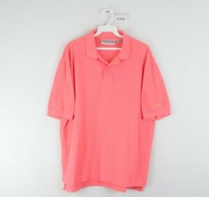 Vtg 80s Levis Mens Large Stitched Spell Out Short Sleeve Polo Shirt Neon Pink