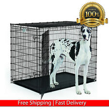 "XXL DOG KENNEL CRATE 48"" FOLDABLE CAGE & PAN EXTRA LARGE PET INDOOR HOUSE 2 DOOR"