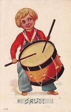 "Little Boy Playing A Drum ""Musical Kids"" Artist Signed Wall Series 95 Postcard"