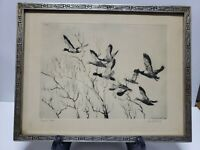 """VINTAGE (1936) RICHARD E. BISHOP - SIGNED 9"""" x 12"""" THROUGH THE WILLOWS FC37-1-K"""