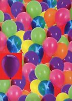 MULTI COLOURED BALLOONS  2 SHEETS OF GIFT WRAP WRAPPING PAPER + 1 TAG 1STP&P