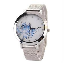 Women Lady Stainless Steel Fashion Blue Lotus Rhinestone Mesh Quartz Wrist Watch