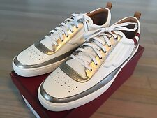 600$ Bally White and Silver Leather Sneakers size US 12.5