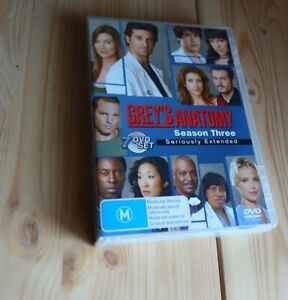 GREY'S ANATOMY SEASON THREE SERIOULSY EXTENDED 7 Disc Set DVD TV Series DOCTORS