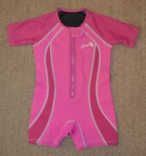 Speedo Youth Girls 4T Wetsuit Shorty Short Sleeved Swim Pink UV 50