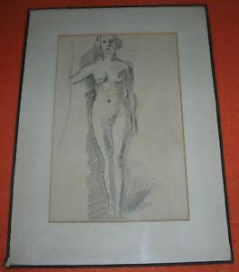 Weiblicher Akt Erotik Zeichnung B.Gobiet Düsseldorf 1920 Neue Sachlichkeit