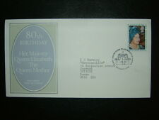 1980 reina madre 80th Cumpleaños Post Office FDC & Glamis Castle Shs Cv £ 3
