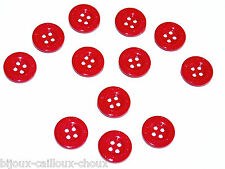 Lot de 12 BOUTONS de créateur / marque THE WEST COMPANY plastique rouge 16mm