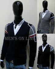 uomo giacca JEANS cardigan D-612 grigio,blu,nero super slim  pullover  L,XL new