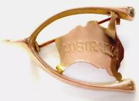 "Antique 9ct Rose Gold "" Lucky Wishbone Australia "" Brooch GIFT BOXED"