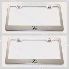 2X Lexus Logo Stainless Steel License Plate Frame Rust Free W/ Bolt Caps
