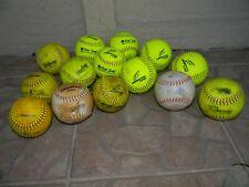 14 used Softballs Worth Hot Dot, Champro, Wilson, Blue Dot, Rawlings, Gold Dot