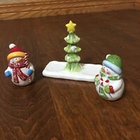 New Snowman Salt and Pepper Shaker Set  w/Tree Stand Holder christmas winter