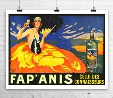 Fap Anis Art Deco Liquor Advertising Poster Rolled Canvas Giclee Print 32x24 in.